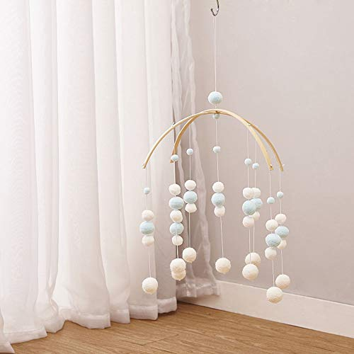 (Wind Chimes Hanging Ceiling Cute Home Decor Photo Props Nursery Mobile Gift Children Room Pendant Crafts Ornament Felt Ball(Light Blue) )