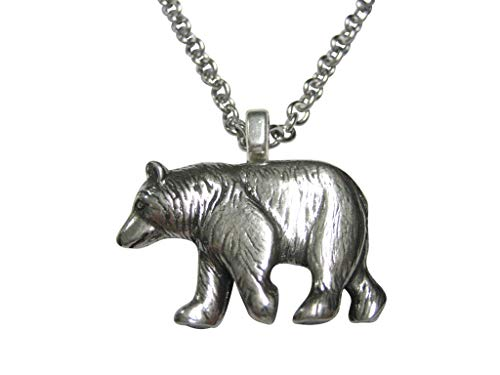 (Kiola Designs Silver Toned Walking Bear Pendant Necklace)
