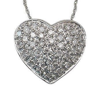 Amazon 14 carat pave set diamond heart pendant in white gold 14 carat pave set diamond heart pendant in white gold mozeypictures Choice Image
