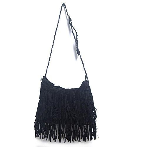 Excellent B529 Ladies Handbag Women's Shoulder Bag Fringed Bag (Black)