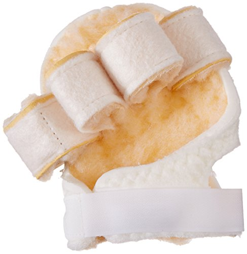 (Rolyan Palm Protector with Finger Separators, Left Handed Glove for Finger Contracture Prevention, Comfortable Hand Cushion with Sherpa Lining On Palm and Finger Separations for Maximum Protection )