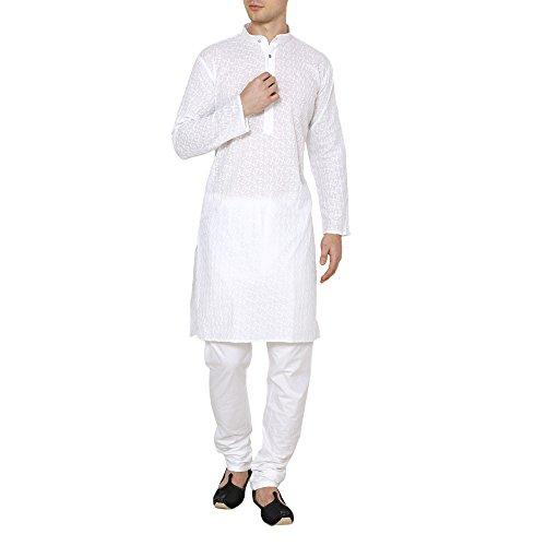 Royal Kurta Men's Lucknowi Chikan Embroidered Cotton Kurta Churidar Pyjama Set 40 White