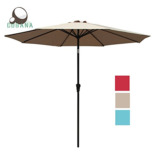 COBANA 9 Ft Outdoor Market Aluminum Umbrella with Push Button Tilt and Crank, 8 Steel Ribs and Wind Vent, 100% Polyester, Beige