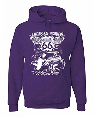 Route 66 America's Highway The Mother Road Hoodie Biker MC Motorcycle Retro Sweatshirt L - Americas Motorcycle Highway Route 66