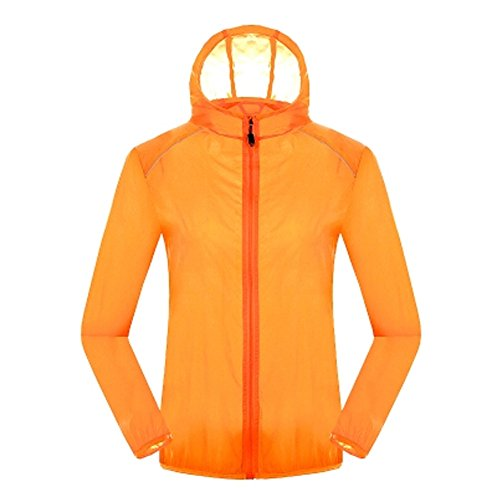 Quick Dry Windproof Skin Coat Super Lightweight UV Protector Jackets,Orange by Kylin Express