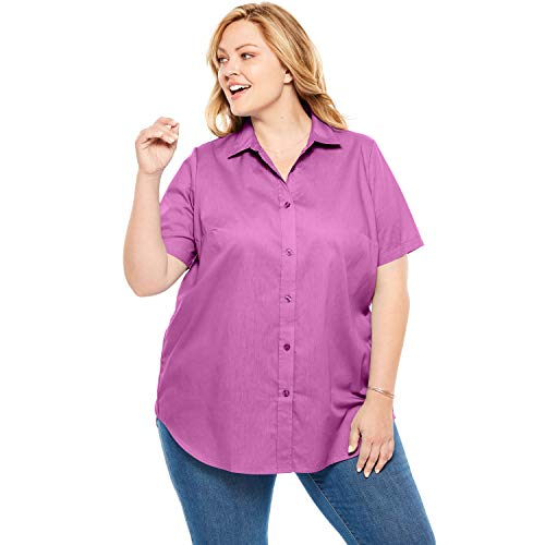Woman Within Women's Plus Size Perfect Short Sleeve Button Down Shirt - Rose Bud, M