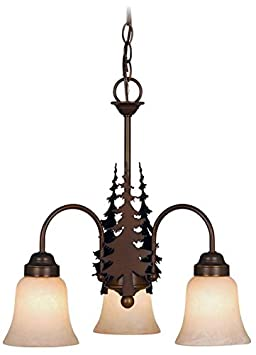 Vaxcel USA CH55503BBZ Yosemite 3 Light Rustic Chandelier Lighting Fixture in Bronze, Glass