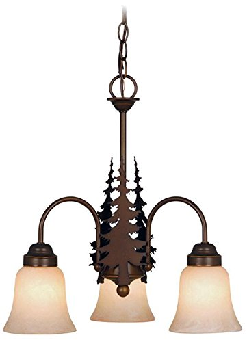 Vaxcel USA CH55503BBZ Yosemite 3 Light Rustic Chandelier Lighting Fixture in Bronze, Glass - Three light Mini chandelier from the yosemite collection Item size: length: 18.50 inches height: 18.00 inches Width: 18.50 inches Style: rustic light Type: Mini chandelier - kitchen-dining-room-decor, kitchen-dining-room, chandeliers-lighting - 41F2Kt3Fy7L -