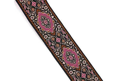 (Ribbonlands 35 mm Pink Medieval Motive Woven Border (1.37 inches), Jacquard Ribbon, Embroidered Ribbon, Sewing Trim, Scroll Jacquard Trim, Woven Border - 32.8 ft/10 m ((10 Meters/ 32.8 ft)))