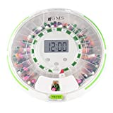 GMS Automatic Pill Dispenser 28 Day Automatic Pill Dispenser with Clear and Solid Lids (GMS Automatic Pill Dispenser, Tray, 6 Dosage Rings, Key) 1 Year Limited Warranty