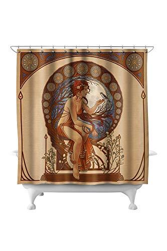 Lantern Press Woman and Bird - Art Nouveau 42807 (74x74 Polyester Shower Curtain) ()