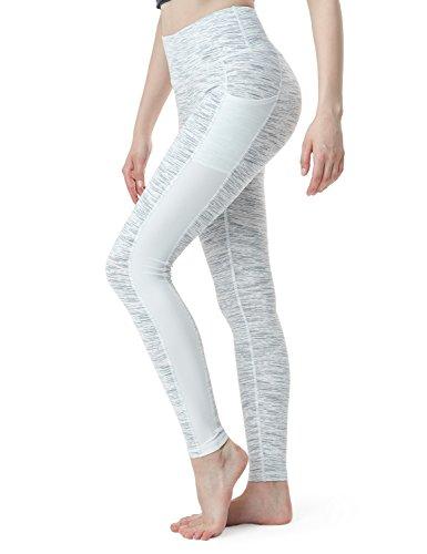 TSLA Yoga Pants Mid-Waist/High-Waist Tummy Control w Pocket Series, Pocket Thick Midwaist(fyp53) - White, X-Small (Size 4-6_Hip35-37 Inch)