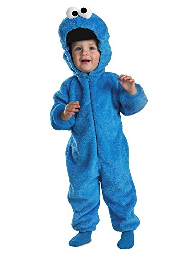 [Sesame Street Infant Boys Plush Blue Cookie Monster Costume Jumpsuit 12-18 Month] (Sesame Street Costumes For Babies)