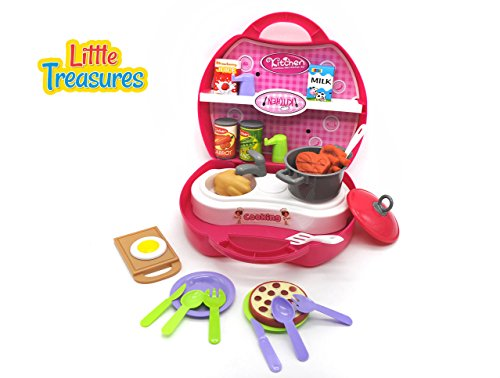 Travel Kitchen Tableware Box is a sweet cooking set for preschoolers, an educational kitchen game carrying sink and stove burner, cooking pot, cutlery spoons, beef steak piece, tin of beans & more