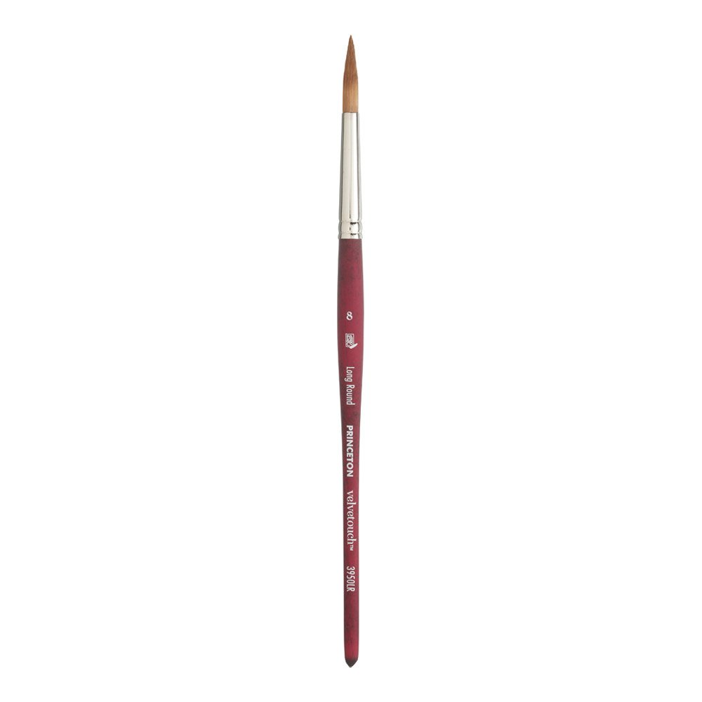 Princeton Velvetouch Artiste, Mixed-Media Brush for Acrylic, Watercolor & Oil, Series 3950 Long Round Luxury Synthetic, Size 8 by Princeton Artist Brush