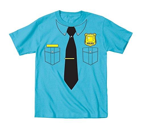Police Officer Tie Badge Sheriff Deputy Halloween Costume Dress Up Toddler Tee (Girls Blue Police Officer Costume)