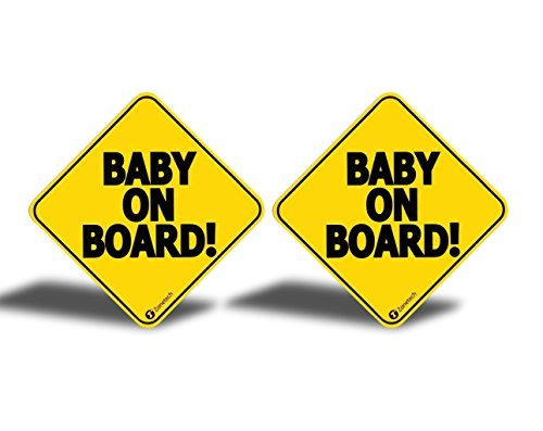 """Zone Tech """"Baby On Board"""" Vehicle Bumper Magnet – 2-Pack Premium Quality Convenient Reflective """"Baby On Board"""" Vehicle Safety Funny Sign Bumper Magnet"""