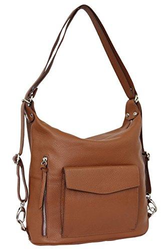 AMBRA Moda - Bolso mochila  de Piel para mujer X-Large cognac marrón