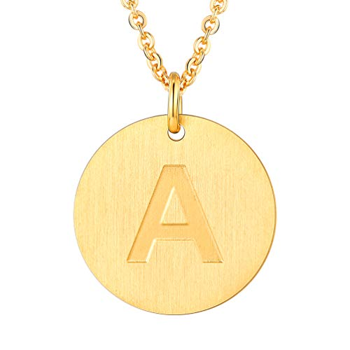 (PROSTEEL Initial Letter Necklaces 18K Plated Alphabet A Personalized Men Women Jewelry Gift Minimalist Layering Layered Gold Coin)