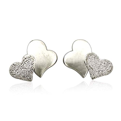 10K White Gold Double Hearts Stud Earrings