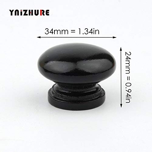 Black Furniture Natural Wood Cabinet Drawer Pull Wardrobe Beech Round Door Knobs Cupboard Handles With Screws - (Color: Black color) ()