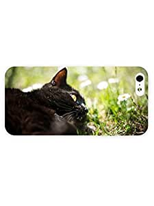 3d Full Wrap Case For Htc One M9 Cover Animal Black Cat In The Grass
