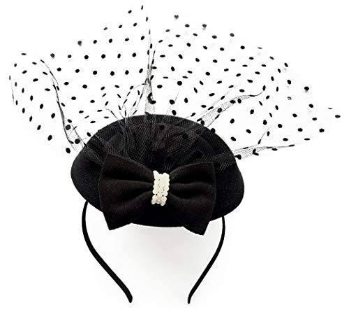 Coolwife Fascinator Hats Pillbox Hat British Bowler Hat Flower Veil Wedding Hat Tea Party Hat (Z Black) ()
