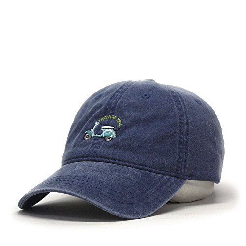 Vintage Washed Dyed Cotton Twill Low Profile Adjustable Baseball Cap (Navy Scooter) (Navy Cotton Profile Twill Low)