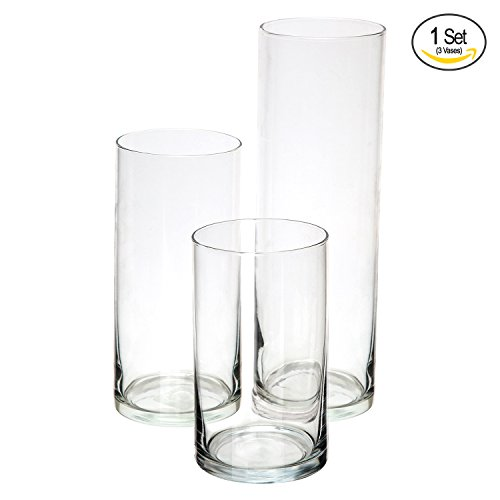 Cylinder Vases SET OF 3 Decorative Centerpieces For Home or Wedding by (Clear Glass Vase)