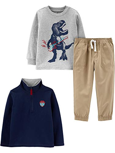 Simple Joys by Carter's Boys' Toddler 3-Piece Fleece Jacket, Long-Sleeve Shirt, and Woven Pant Playwear Set