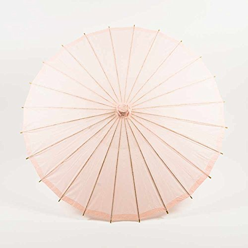 - PaperLanternStore.com 32 Inch Rose Quartz Pink Paper Parasol Umbrella for Weddings and Parties