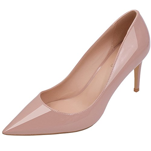 Lovirs Womens Pointed Toe High Heel Stiletto Solid Color Patent Leather Pumps Wedding Party Shoes Nude rEqXGB