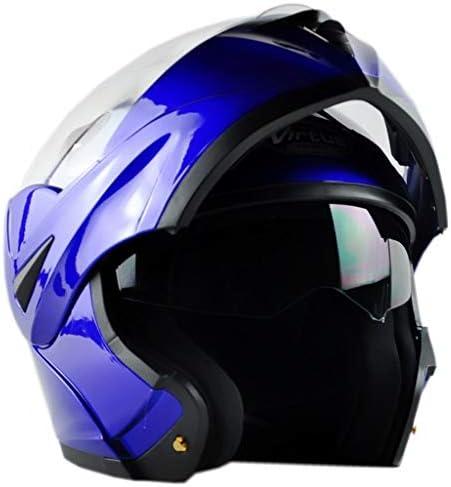 ZJJ ヘルメット- 電気オートバイ発見ヘルメット、雨と紫外線保護ヘルメット、ダブルレンズ (色 : 青, サイズ さいず : L l)