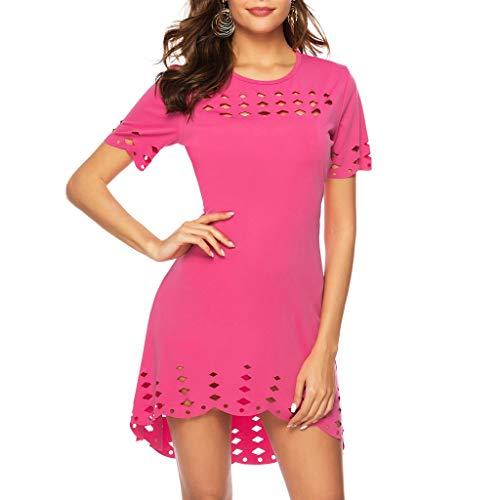 Auimank Women Dress Women Summer Casual Short Sleeve Knee Length Party Dress Sundress(Medium,Red) ()