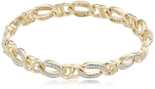 Brilliant Cut Link Bracelet - 18k Yellow Gold Plated Sterling Silver Diamond Link Bracelet (1/10 cttw, I-J Color, I2-I3 Clarity), 7.25