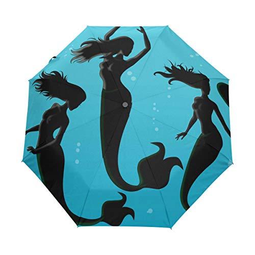Nigbin Mermaid Spirit Fish Umbrella Automatic Auto Open Close Travel Sun Blocking Windproof Umbrellas for Women -