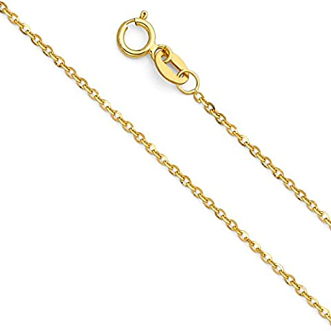14k Yellow Gold SOLID 1mm Side Diamond Cut Rolo Cable Chain Necklace with Spring Ring Clasp - 16