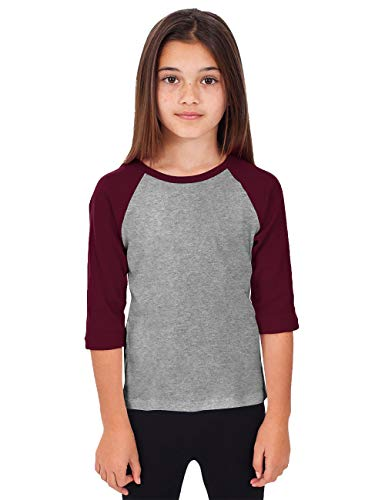 Hat and Beyond Kids Raglan Jersey Child Toddler Youth Uniforms 3/4 Sleeves T Shirts (Medium (6-7 Year), (Kid) 5bh03_Heather Gray/Maroon)