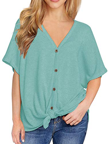 IWOLLENCE Womens Loose Henley Blouse Bat Wing Short Sleeve Button Down T Shirts Tie Front Knot Tops Blue-Green 2XL