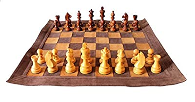 """Stonkraft 19"""" x 19"""" Genuine Leather Roll-Up Tournament Chess Set - With Wooden Chess Pieces - Brown Colour"""