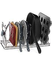 SimpleHouseware 7 Adjustable Pot and Pan Organizer Rack Holder, Chrome