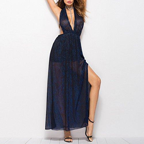 Ai.moichien Dame Maxi Robe Cocktial Or, Licou V Profond Dos Nu Mince Voir À Travers Des Robes De Bal Robe De Nuit Jambe Rosée Bleu Marine