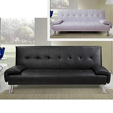 Divano letto ecopelle BIANCO o NERO da cm 194 sofa per soggiorno ...