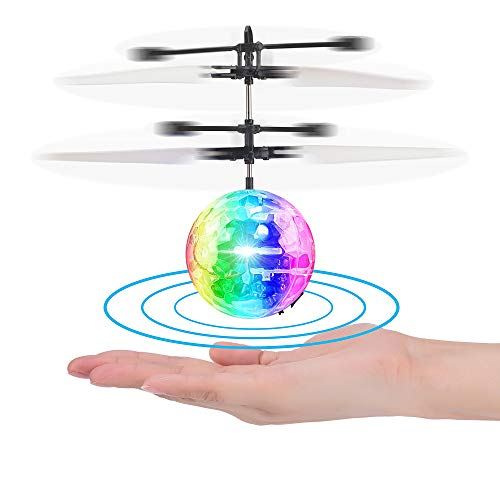 ACGOING Flying Ball Toys RC Infrared Induction Helicopter with Remote Controller for Indoor and Outdoor Games (Clear) (Collision Ball)