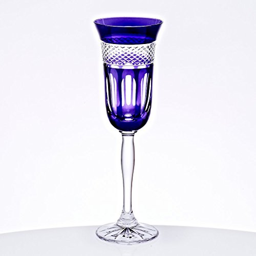 CRISTALICA Champagne Flute COLORADIO 150ml, purple, lead crystal glass, modern style, glass (GERMAN CRYSTAL powered by -