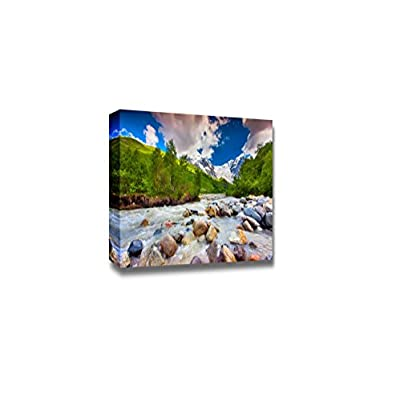 Canvas Prints Wall Art - Beautiful Landscape with Mountain Stream. Georgia, Svaneti | Modern Wall Decor/Home Art Stretched Gallery Canvas Wraps Giclee Print & Ready to Hang - 32