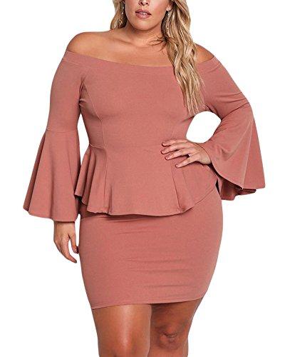 VINKKE Womens Peplum Off The Shoulder Party Plus Size Mini Dress Dusty (Peplum Mini)