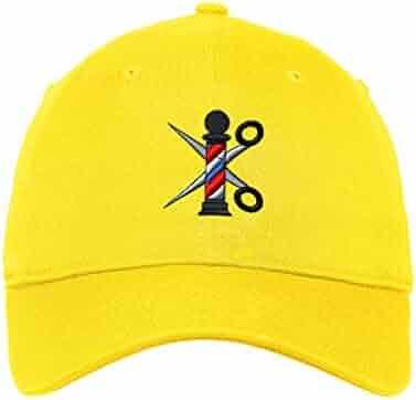 103b028b Custom Low Profile Soft Hat Barber Pole Scissors Embroidery Design Cotton