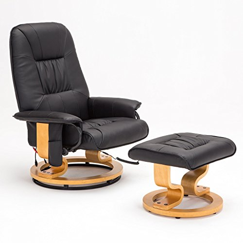 SGS Real Leather Leisure Massage Recliner Chair Swivel Armchair w/Ottoman