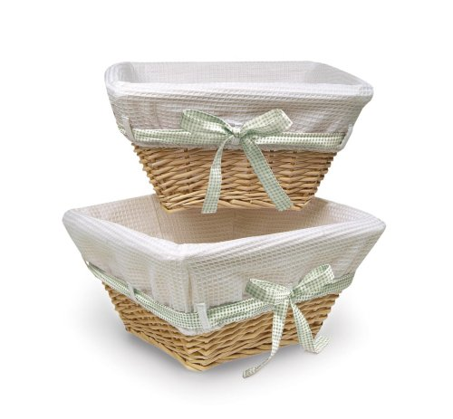 (Badger Basket Wicker Nursery Basket Set of 2 with Liners/Ribbons, Natural/White)